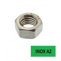Ecrous hexagonaux Inox A2 Ø 10 BTE 100 (Prix à l'unité)