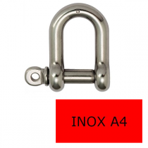 Manille droite axe libre inox A4 6 mm (Prix à la pièce)