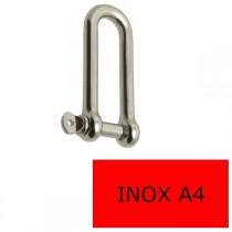 Manille droite longue axe libre inox A4 6 mm (Prix à la pièce)