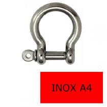Manille lyre axe libre inox A4 6 mm (Prix à la pièce)