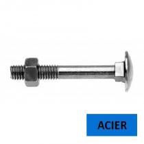 Boulon TRCC DIN 603 acier zingué classe 4.8 filetage partiel 10 x 20 (Prix à l'unité)